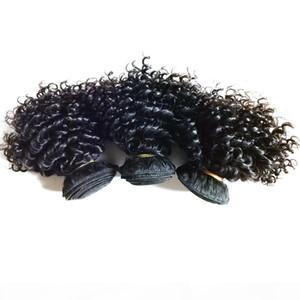 Moda brasileña virgen humano corto cabello rizado 8-18 pulgadas Doble trama 3pcs 300g Lote Poblador Rizado Indio European Hair Extensions Inus Reino Unido