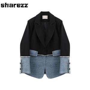 Sharezz Printemps 2020 nouvelle mode des femmes Denim Patch Veste Manteau Slim Fit manches longues Blazer Asymétrique Tops Bureau Tide