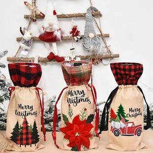 Bottiglia di vino Plaid copertura Champagne coperchi per bottiglie di Natale floreale Wine Car Bag Xmas vino Borse Partito Dinner Table Decoration ZZC2437