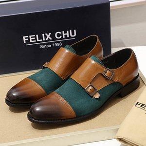 Mens Oxford echtes Leder und Wildleder beiläufige Cap Toe Doppelschnalle Monk Strap klassische verkleiden Grün Braun Schuhe Herren LJ201015
