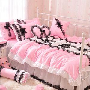 Pink Princess Bedspread Bedding Set Lace Duvet Cover Queen King Size 4pcs Solid Color Bedclothes Bed Skirts Linen 100% Cotton