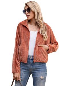 Las mujeres de la solapa del cuello de la cremallera de la chaqueta de otoño color sólido flojo del bolsillo de Coats Famale Ropa Casual