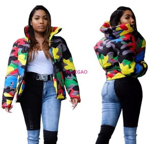 New Women men Wear Color Camouflage Printing and Dyeing Bread Clothing Down Jacket Cotton Outdoor Windproof Leisure Wild 201026