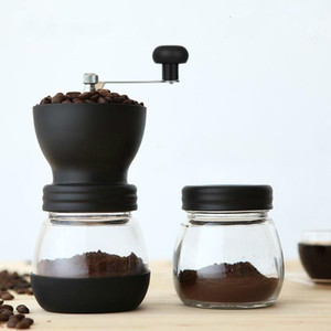 Manual Coffee Grinder Home Office Hot Ceramic Millstone Portable Coffee Mill Tool with 2 Glass Sealed Pots Easy Cleaning