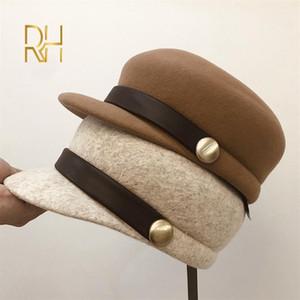 New Fedoras Fashion Wool Felt Hat PU Belt Decoration High Quality Women Fedora Flat Top Knight Equestrian Cap RH