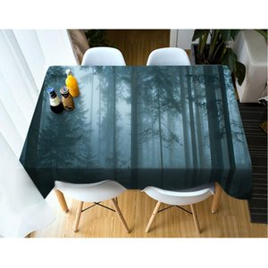 3D Tablecloth Forest Natural Scenery Pattern Washable Cotton Cloth Thicken Rectangular and Round Wedding Table Cloth