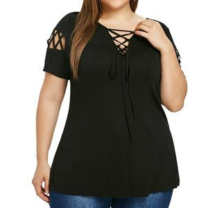 Plus Size Blusa per le donne Casual Hollow Out Camicia Solido con scollo a V maniche corte Bandage Tops Casual Shay Womens Top Ballouss # 38