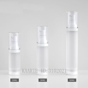 20 30 50ml 30pcs lot Empty White PP Cosmetic Frosted Vacuum Lotion Nozzle Container,DIY Portable Airless Liquid Package