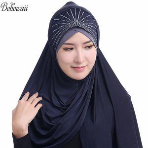 BOHOWAII Jersey Hijab Headscarf Cap Islamic Full Cover Hot Sale Muslim Headwear Fashion Diamonds Hijabs Femme Musulman
