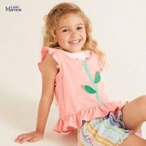Camisa pequena maven meninas Verão meninas novas camisetas Flor Folha Applique Crianças Tops T para Cores roupa dos miúdos rosa camisetas OW5h #