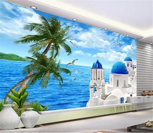 Custom Photo Wallpaper 3d Beautiful Sea View Of The Aegean Sea Living Room TV Background Bound Wall Painting Wallpaper