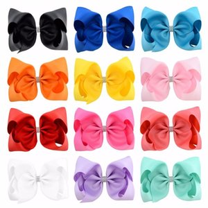 12pcs lot 8 Inch Large Grosgrain Ribbon Bow With Rhinestone Kids Hairbows Girls Hairpin Boutique Hair Accessories 837