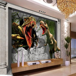 Wall Sticker beibehang Wallpaper murale 3D Muro di mattoni Muro di Remnant Palazzo Dinosauro Giurassico TV del contesto