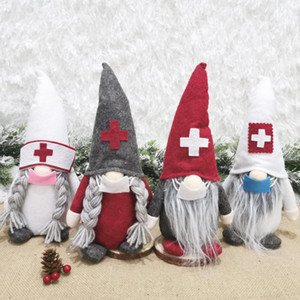 Medico di Natale Nurse Gnome Peluche Ornamenti svedese Santa Xmas Tree Decor Holiday Home Decorazione del partito DHA2127