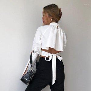 Elegante Bandaggio Bianco Brodo Blouse Blouse Camicette a maniche lunghe Hollow Out Donne Crop Top Fashion Street Hipster corto camicetta