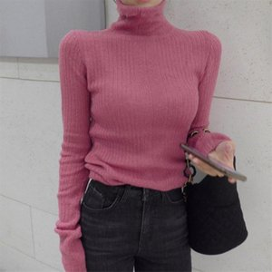 Chic Women Brief Turtleneck Slimming Knitted Jumpers Soft High Street 2020 Elegant Women Pullovers Basic Sweaters 3 Types