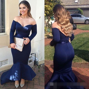 2021 Plus Size Vestidos de noite azul Off the Shoulder Satin Mermaid Alta Baixa Trem da varredura Custom Made ocasião formal Prom Party Vestidos