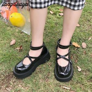 Japanische Lolita Schuhe Mary Jane PU-Leder JK Love Girl Student Kawaii Süße Runde Kopf Wasserdichte Schwarze Schuhe Anime Cosplay # F42G