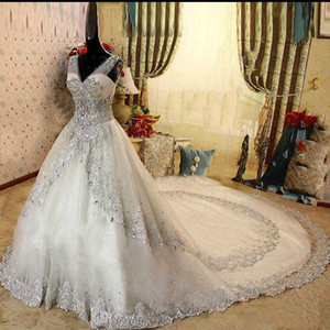 Real Gorgeous Luxurious Appliques Wedding Dresses A-Line Crystal Cathedral Train Beaded Lace Bridal Dresses Wedding Gown vestido de novia