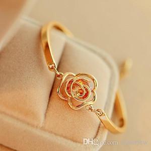Armbänder Armband-Weinlese Simple Gold Zircon-Rosen-Blumen-Legierung Camellia Armband Charm Bracelets