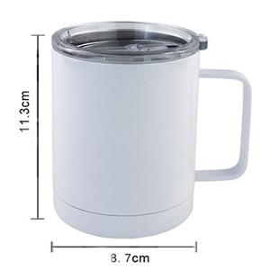 Mais barato 10 onças sublimação Caneca em branco Copa do escritório Double Wall Sublimation insualted Vacuum Drinking Water Tumbler Com Handle GWD2261