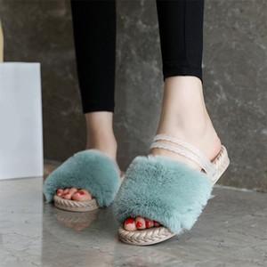 Ladies Indoor Flip Flop Female Ankle Strap Women 's Winter Warm Fur Plush Slipper Open Toe Flat Platform Woman Shoes F1224
