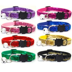 Collar gato Coleiras Cat Pet Com Sinos cara do gato Collar XD24033 Collar Segurança Buckle Glitter Velvet Lantejoula