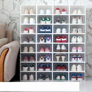 6PCS Set Thickened flip shoes transparent Drawer Case Plastic Shoe Boxes Stackable Box Storage Shoe Box Storage Organizer CJ191128