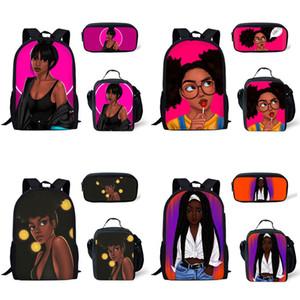 Shoulder Estudante Mochilas 41 Design Afro Multi-função menina de alta capacidade Lunch Bag Pen Bolsas Ombros Mochilas Three-Piece Set 07
