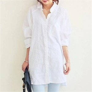 Vogiedean Femmes Chemises Chemise Spring Summer Blusas Office Lady Elegant Lock Tops et Blouses Blanc Casual Draps Femmes Y200103