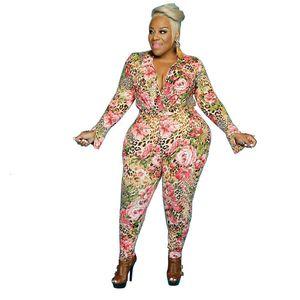 Womens Flower Plus Size Jumpsuits Autumn Winter 5XL Lapel Neck Long Sleeve One Piece Trousers Woman Oversize Slim Rompers