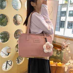 Sweet Sof Solid Color Borse Borse Ampia Capacità Tote per le donne Borsa a tracolla Giappone Trend Girls Tessuto Satchel Borse a tracolla C1223