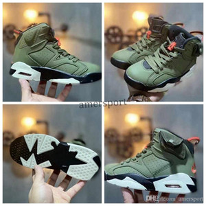 6s Kids Sneakers Travis Scott 6 VI Basketball Shoes Medium Olive Boys Girls shoes Dark Mocha Sports Sneakr Infant 6 Childrens sneaker