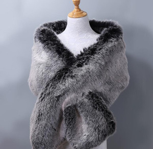 Luxury-Women's ladies business Plush fur fox fur bridal evening dress dinner party Noblewoman Padded big shawl cloak scarf