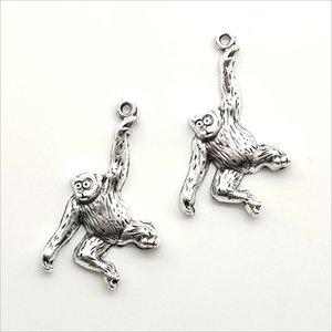 Lot 100 adet Sevimli Maymun Antik Gümüş Charms Kolye Takı Yapımı için Küpe Kolye Bilezik Anahtarlık Aksesuarları 36 * 24mm