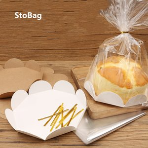 StoBag 20pcs Handmade Cake Packaging Bag 6 8 Inch Cupcake Embry Toast Snack Bread Baking Transparent West Point Packaging Box 201029