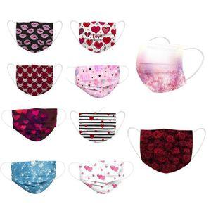 2021 Valentinstag Tagesmaske Frauen Männer Designer Gesichtsmaske Erwachsene Anti-Dust Baumwollmasken Mund Cover Party Gunst FY0133
