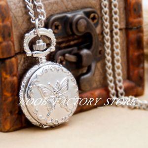 Nuovo quarzo Vintage Acciaio Bianco Acciaio Piccolo Butterfly Pocket Orologi da tasca Collana gioielli all'ingrosso maglione catena di moda orologio in acciaio