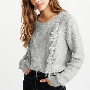 Suéter para mujer Bohemio O-cuello Sólido Prosegura Completa Tassel Trassel Pullover Feminino Pull Femme NouveAUTE 2020 10.18