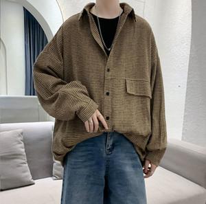 2020 camisa de manga larga suelta espesado rayas de Corea primavera y el otoño Nueva Juventud populares de los hombres de moda casual Top M-2XL