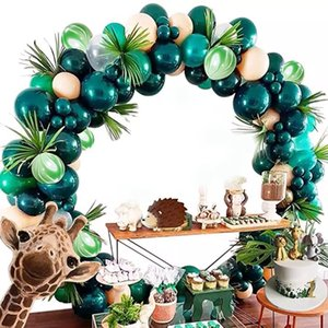 155/162 PCS Retro Green Balloons Arch Kit Festive Evento Evento Forniture da sposa Jungle Safari Tema Accessori per arredamento di Natale F1222