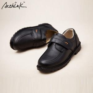 ActhInK New Kids Vestido de couro genuíno para Marca crianças negras Wedding Shoes Meninos Sneakers Wedge Formal, S011