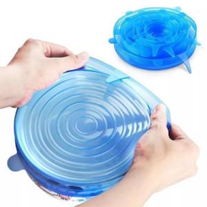 Stokta 6 ADET Ayarlanabilir Kapaklar Kapak Silikon Streç Evrensel Kullanımlık Taze Tutma Saver Tenceresi Çanak Kase Mutfak Aksesuar1
