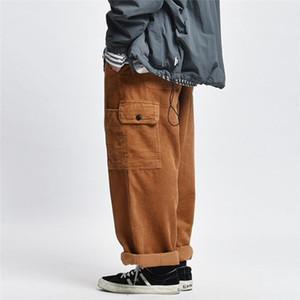 Corduroy Cargo Pants Hommes d'hiver épais en vrac Pantalon de travail Streetwear Casual Pantalon large Mens