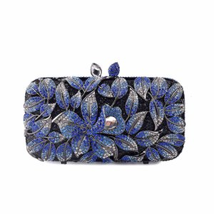 Floral Crystal Evening Bags Wedding Party Purse Hollow Out Women Rhinestone Clutches Metal Bag Bridal Crystal Bag