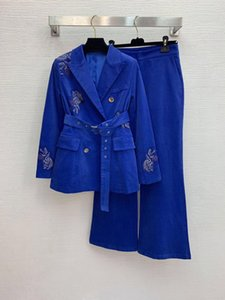 High end 2020 double breasted mesh embroidery belt suit coat high waist horn wide leg pants suit