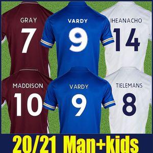 2020 2021 The Fox Soccer Jersey Home Camicia Blu Away White Jersey Adulto uomo Kit Kit Jamie Vardy Football Jersey Camiseta de Fox 20/21