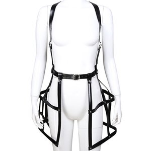 Fashion Performance Costumes Collar Strap Crop Top Mini Skirts Leather Hot style Lingerie Clubwear Teddies Bodysuits Bdsm Bondage
