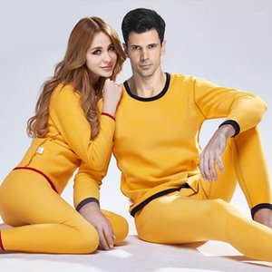 Set thermique Set pour femmes Hommes Hiver Long Long Johnsthick Velvet chaud Velvet Vêtements d'hiver Couple Pantalon Pant et Top Thermal Suit1
