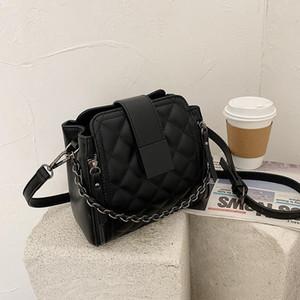2021 advanced women's bag net red chain bucket bag new fashion Lingge One Shoulder Messenger